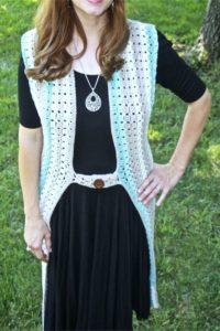 Crochet duster vest Caron Cotton Cakes Beachglass Free Pattern