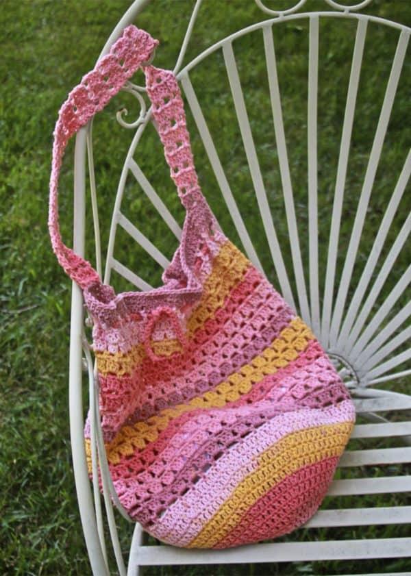 Boho Market Bag Free Crochet Pattern using Caron Cotton Cakes