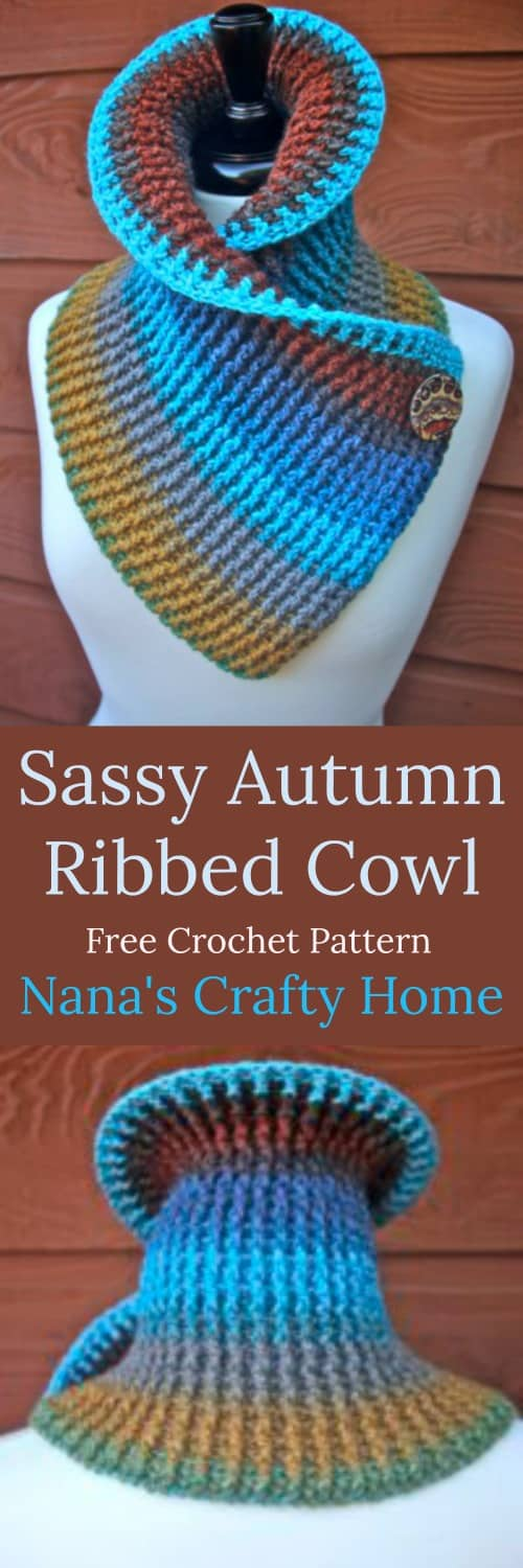 Sassy Autumn Ribbed Cowl a free crochet pattern