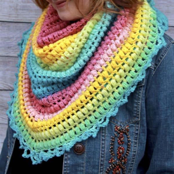 Spring Me Forward Triangle Scarf Free Crochet Pattern
