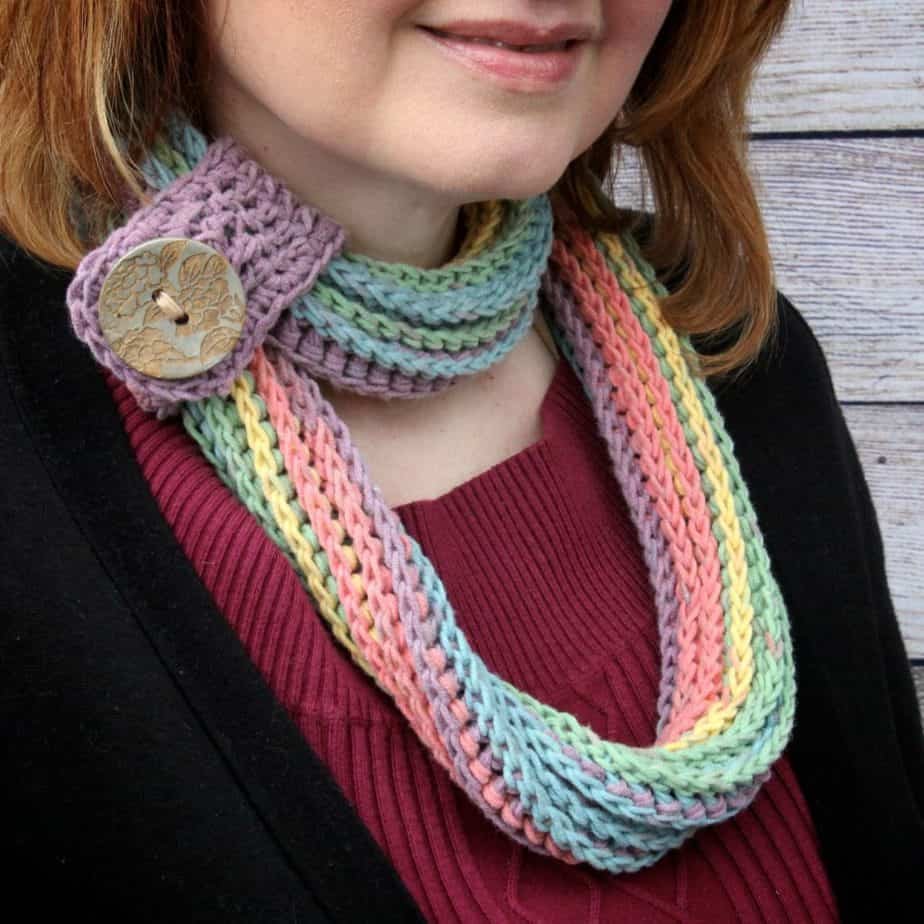 Coiling Colors Cowl free crochet pattern featuring Caron Cotton Cakes
