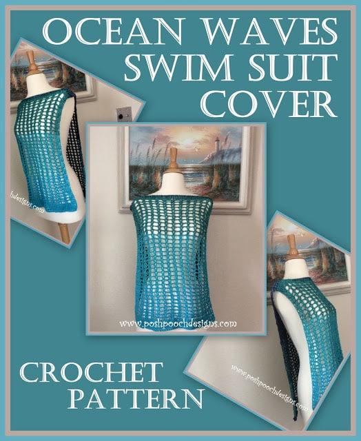 Ocean Waves Swim Suit Cover by Posh Pooch Designs