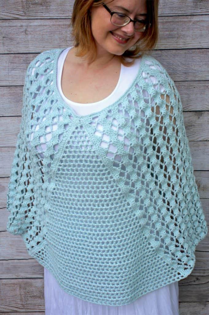 Whimsical Waves Crochet Poncho featuring Lion Brand's Feels Like Butta Yarn