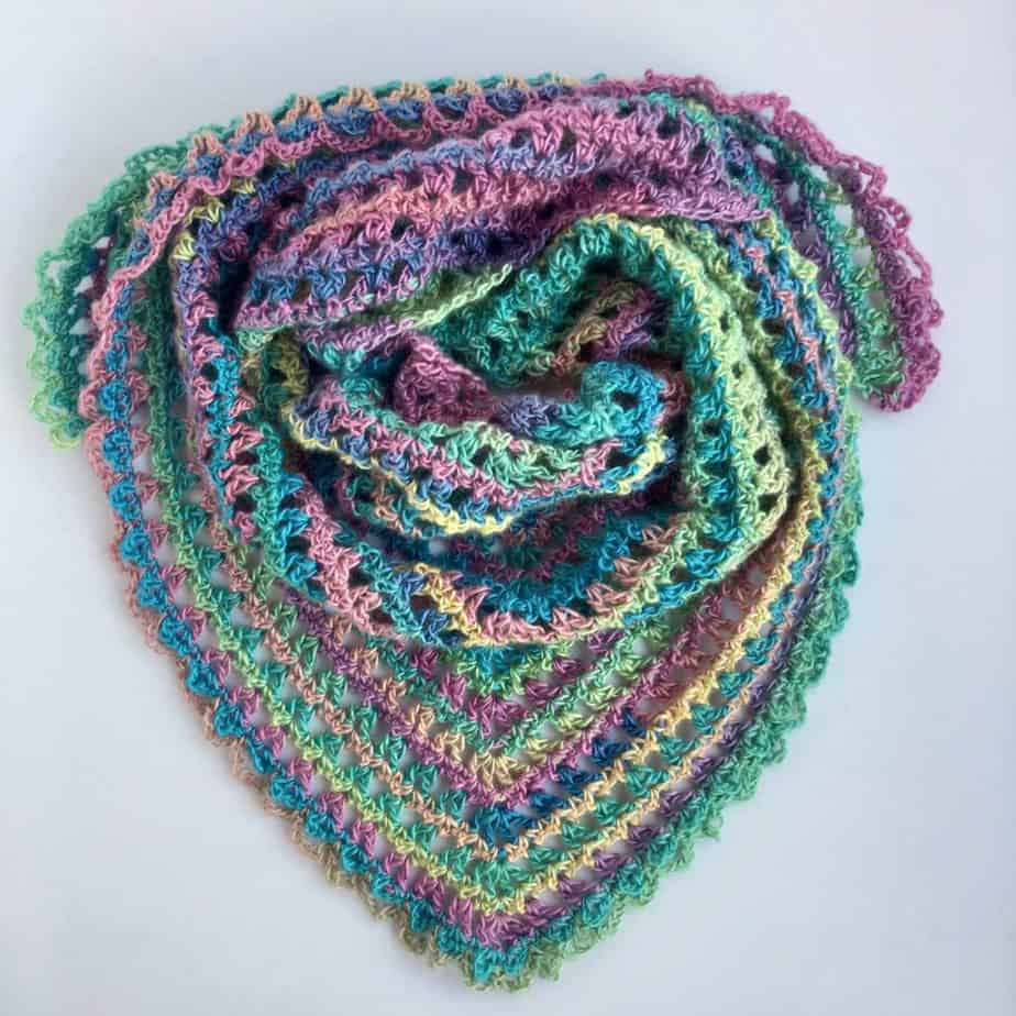Candy Kisses Scarf free crochet pattern featuring Red Heart Unforgettable