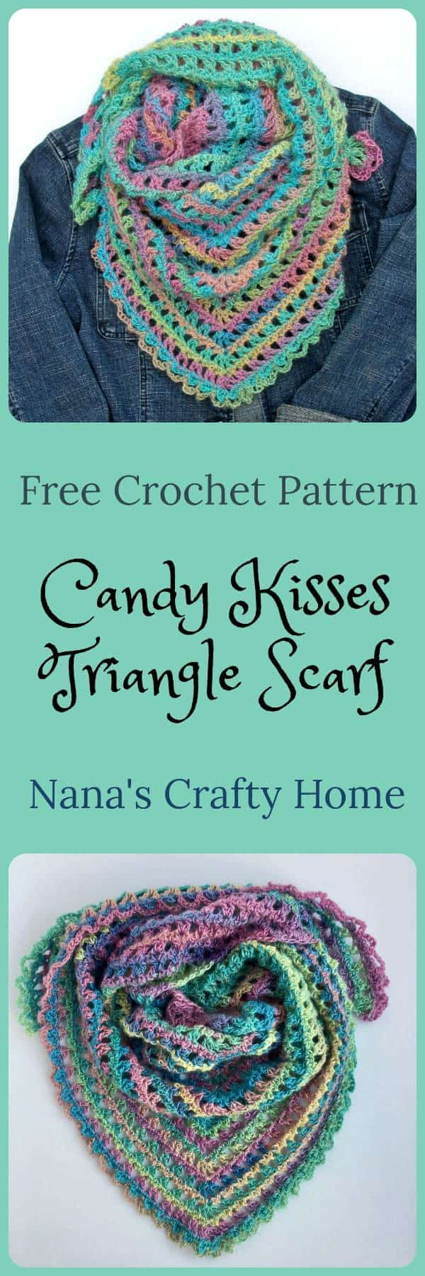 Candy Kisses Triangle Scarf Free Crochet Pattern featuring Red Heart Unforgettable