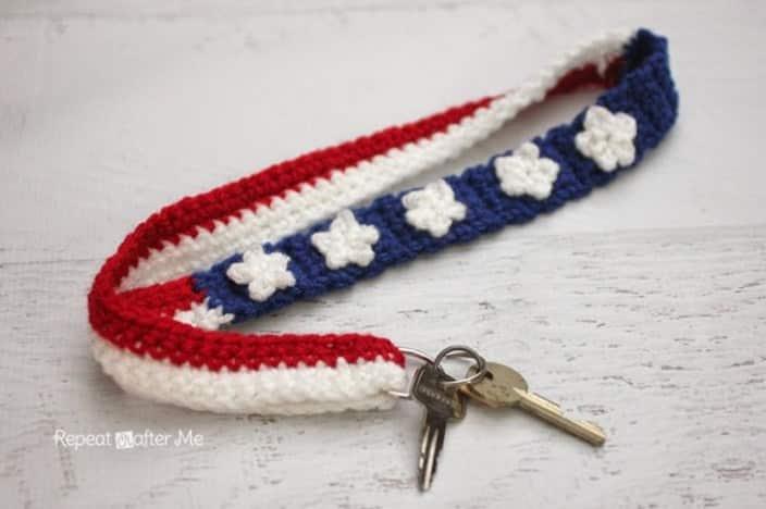 Stars and Stripes Lanyard free crochet pattern
