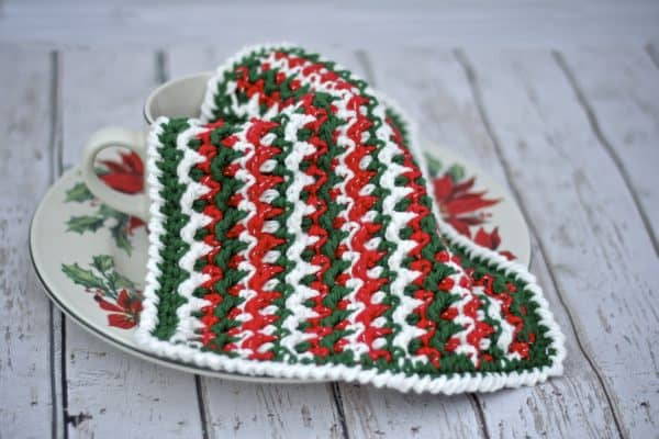 Any Holiday Christmas Dish Cloth free crochet pattern