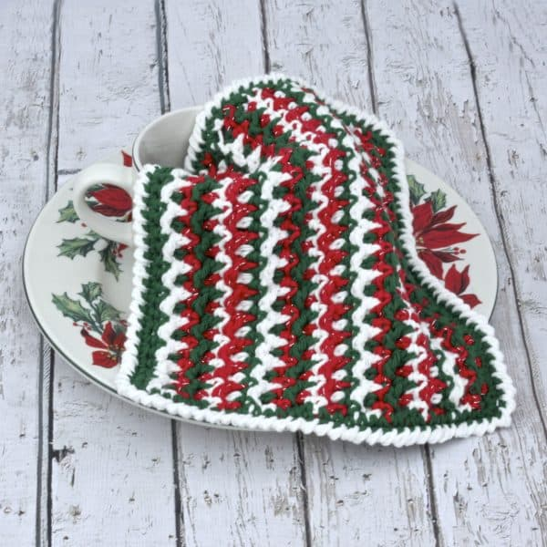 Any Holiday Textured Dishcloth free crochet pattern Christmas video tutorial