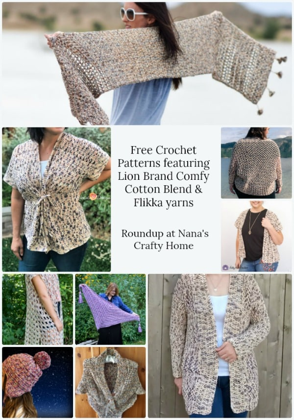 Lion Brand Comfy Cotton Blend Flikka Yarns Crochet Pattern Roundup