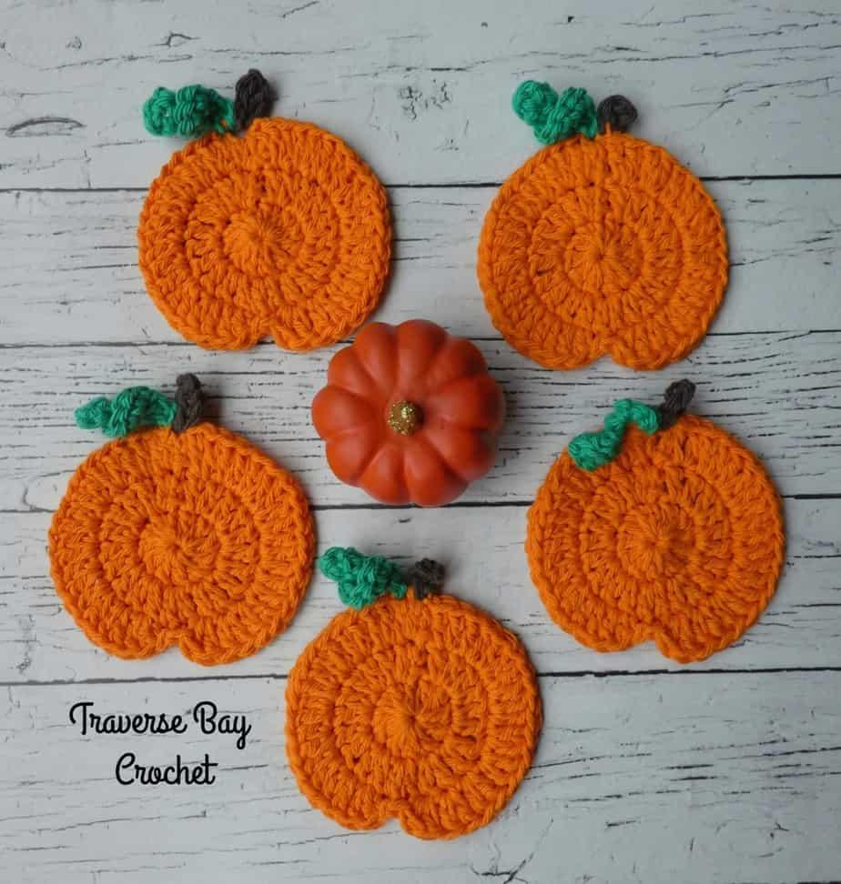 Pumpkin Coasters free crochet pattern