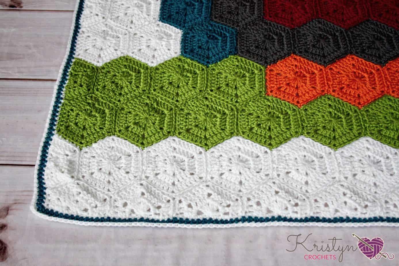 Night Owl Crochet Hexagon Blanket Free Pattern by Kristyn
