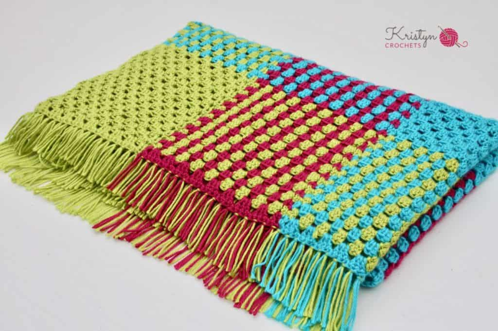 Crochet Gingham Blanket with Granny Stripes a free pattern