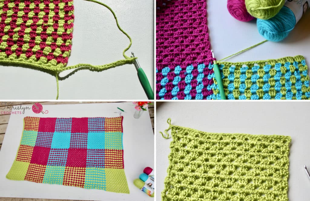 Crochet Gingham Blanket with Granny Stripes a free crochet pattern