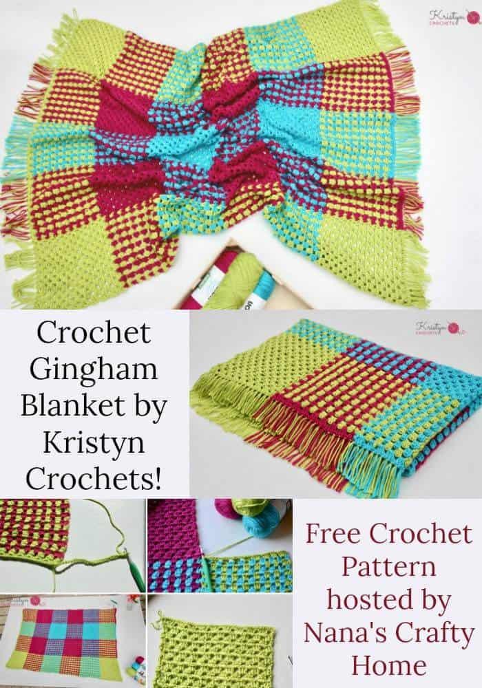 Granny Stripe Gingham Crochet Blanket a free crochet pattern by Kristyn Crochets!
