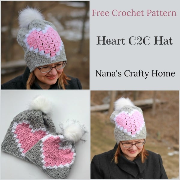 Heart C2C Hat Free Crochet Pattern