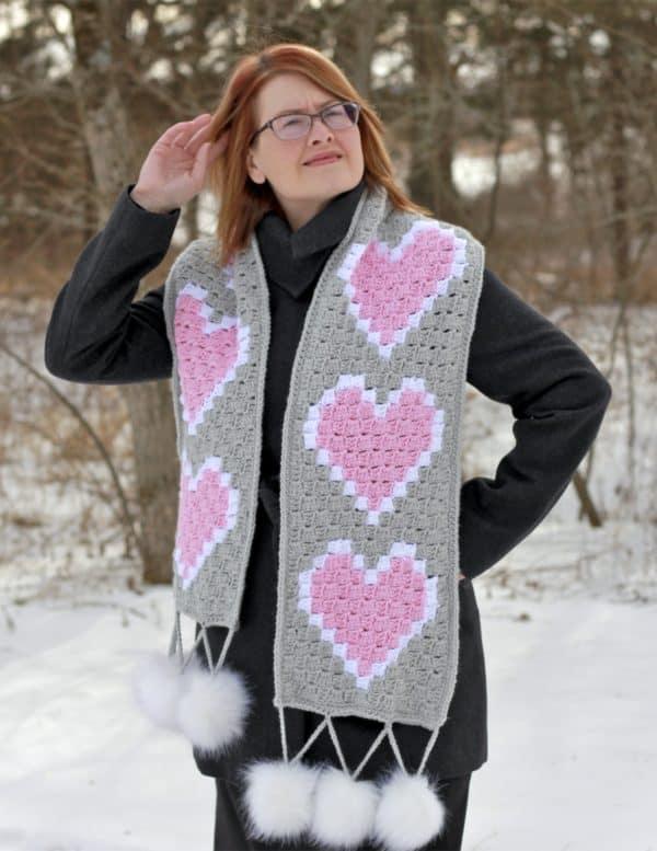 Heart C2C Scarf Free Crochet Pattern