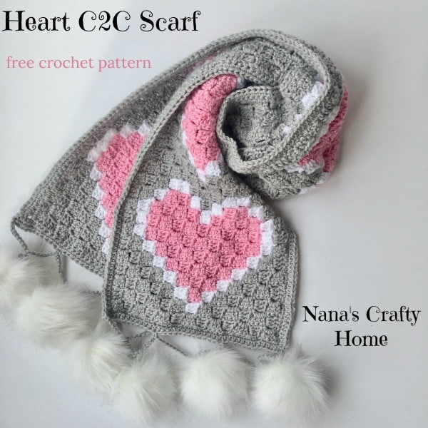 Heart C2C Scarf Free Crochet Pattern - Nana's Crafty Home