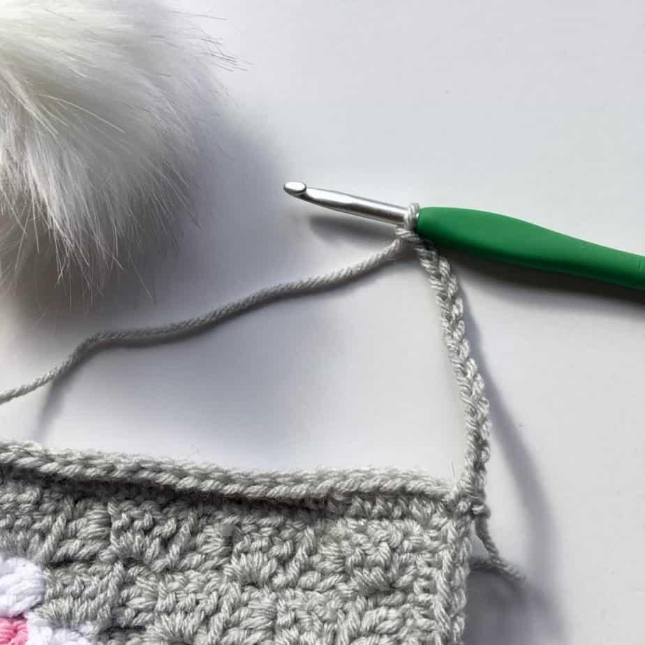 Heart C2C Scarf free crochet pattern pom pom process 2