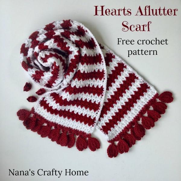 Hearts Aflutter Scarf Free Crochet Pattern