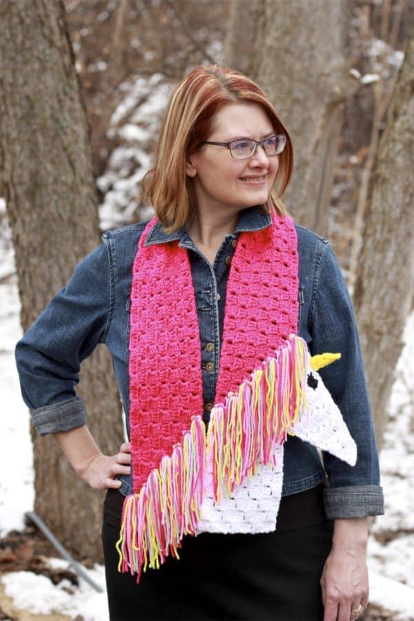 Unicorn C2C Scarf Free Crochet Pattern