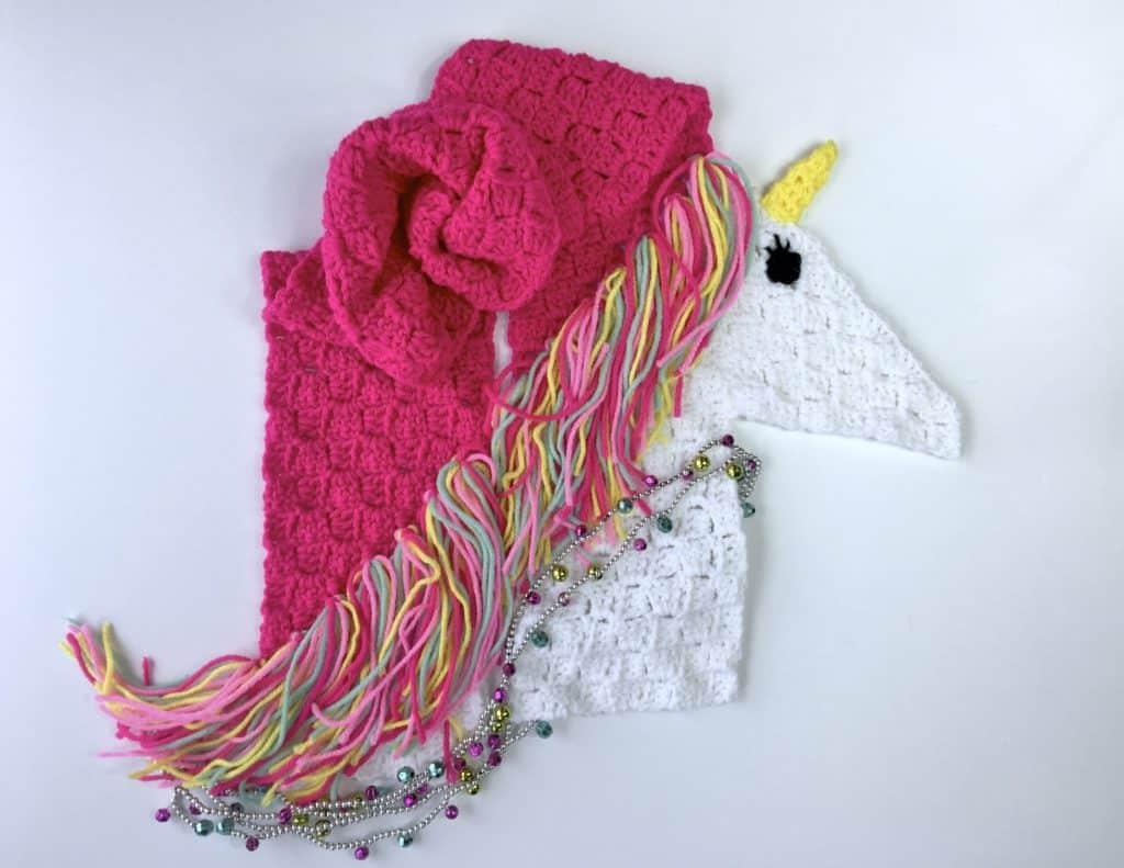 Unicorn Scarf Free Crochet Pattern C2C