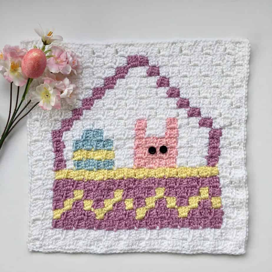 Easter Basket C2C Square Blanket Graphgan Crochet a Long (CAL) Part 2