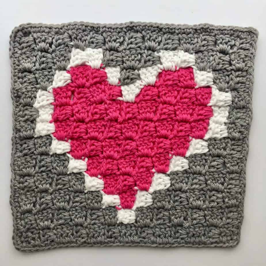 Heart C2C Dishcloth free crochet pattern