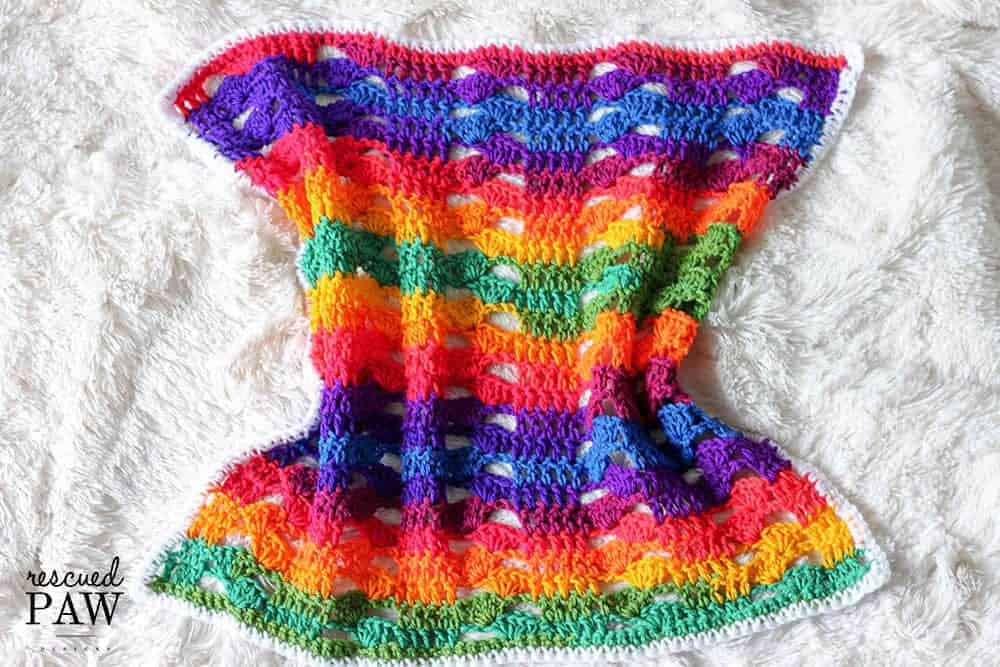 Rainbow Crochet Blanket by Rescued Paw Designs