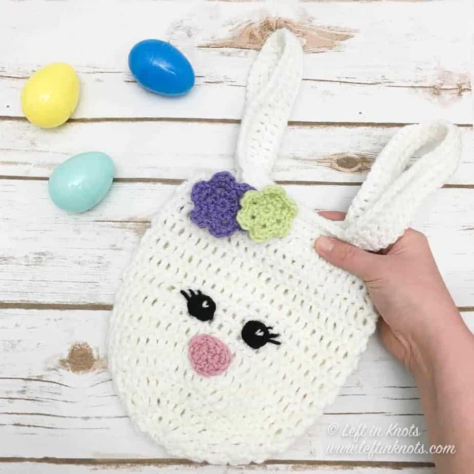 Mini Bunny Bag free crochet pattern by Left in Knots
