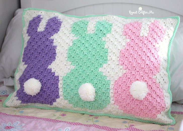 Bunny C2C Pillow Sham by Repeat Crafter Me