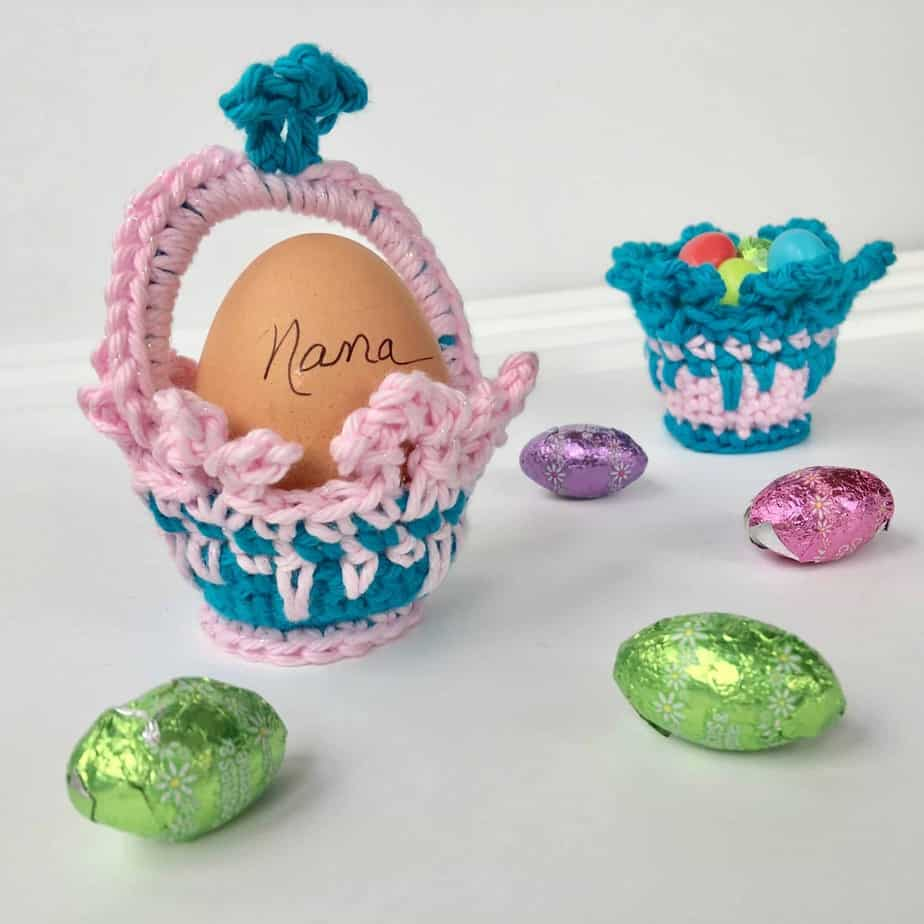 Crown Easter Basket Egg Cozy Party Favors free crochet pattern