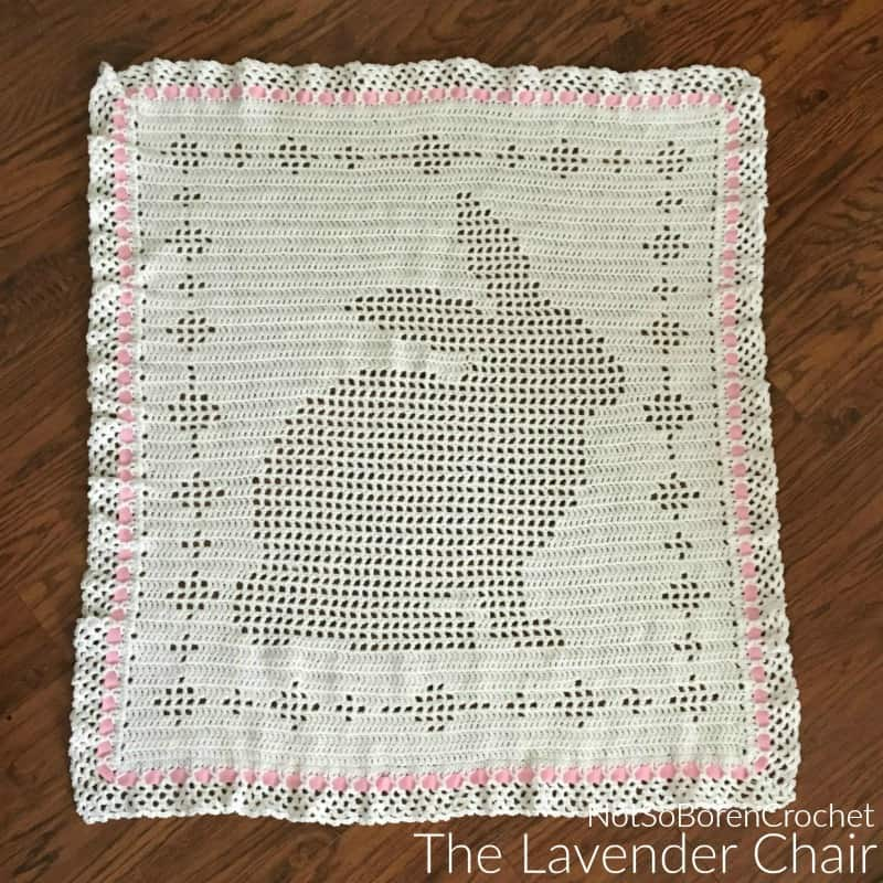 Filet Bunny Blanket free crochet pattern by The Lavender Chair