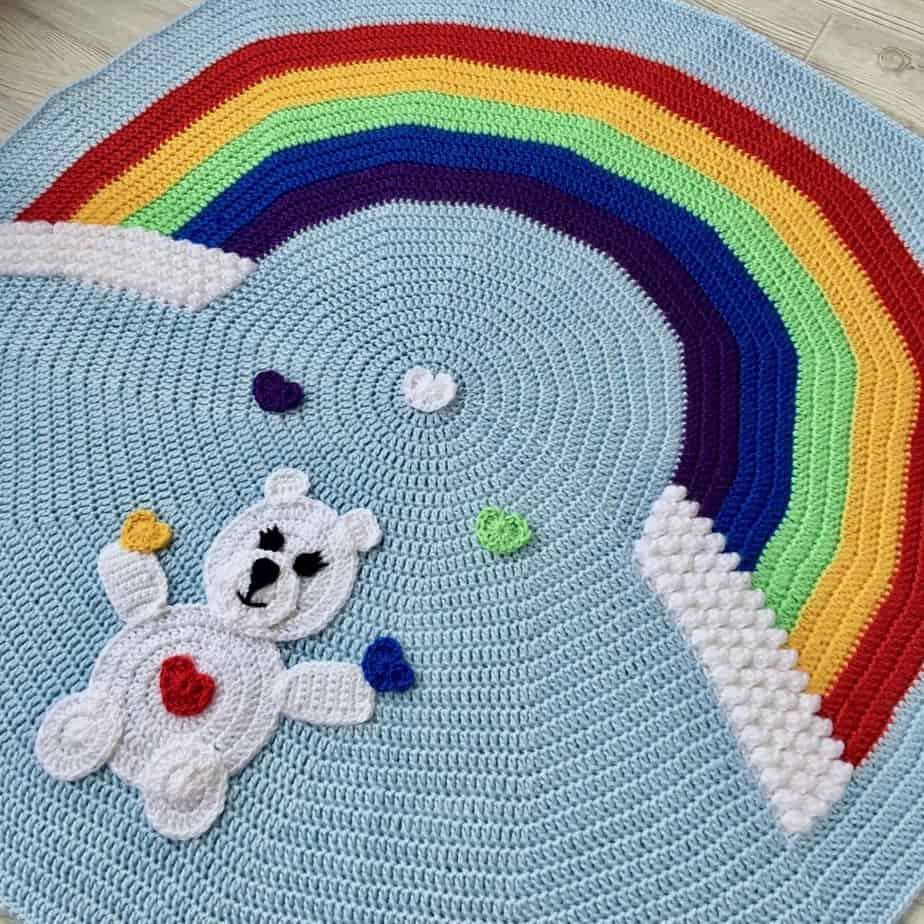 Rainbow Crochet Baby Blanket The Love Bear Baby Blanket Pattern
