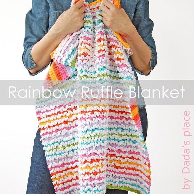 Rainbow Ruffle Blanket crochet pattern by Dada's Place
