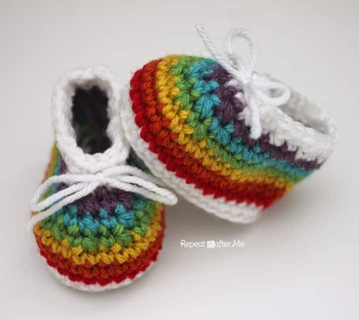 Rainbow Baby Booties by Repeat Crafter Me