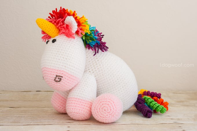 Rainbow Cuddles Unicorn crochet pattern by One Dog Woof