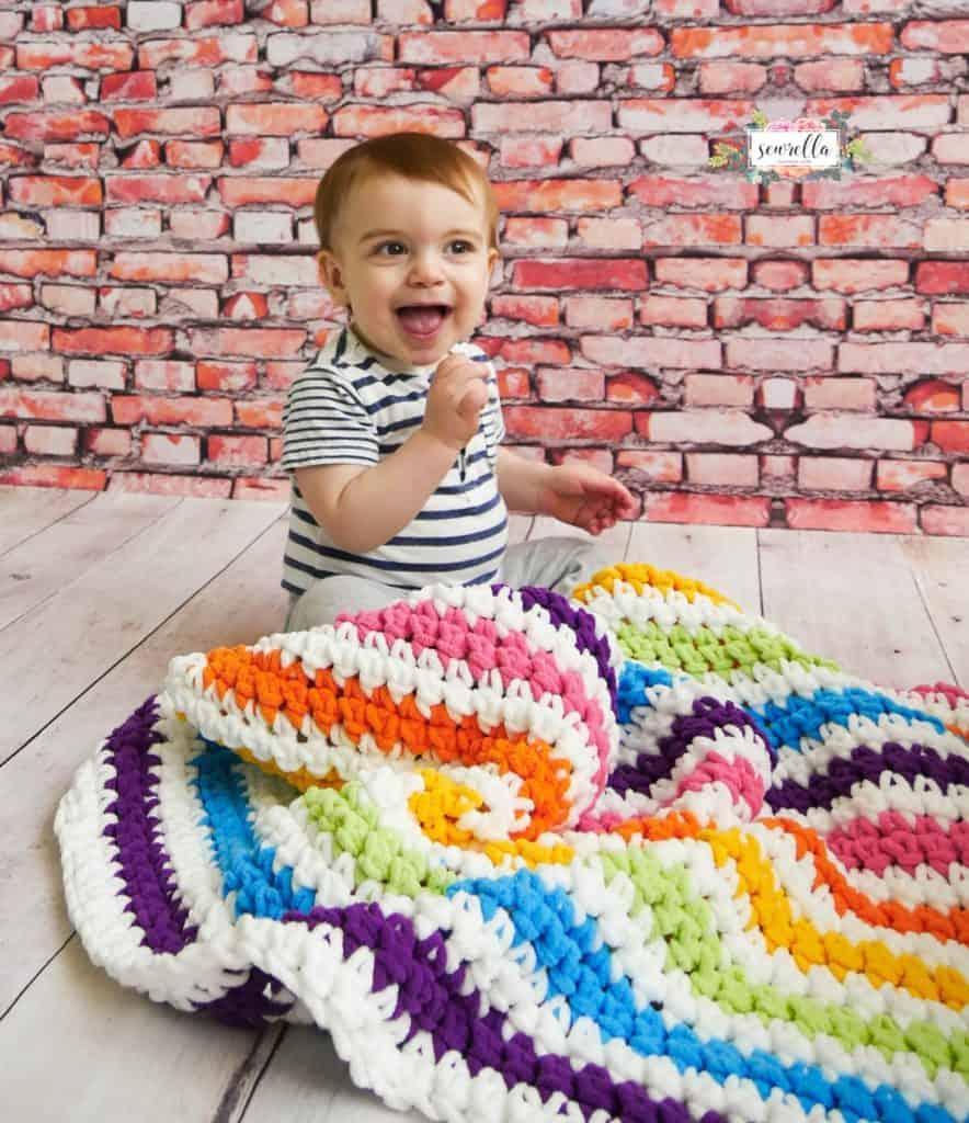 Rainbow Stripes Baby Blanket crochet pattern by Sewrella