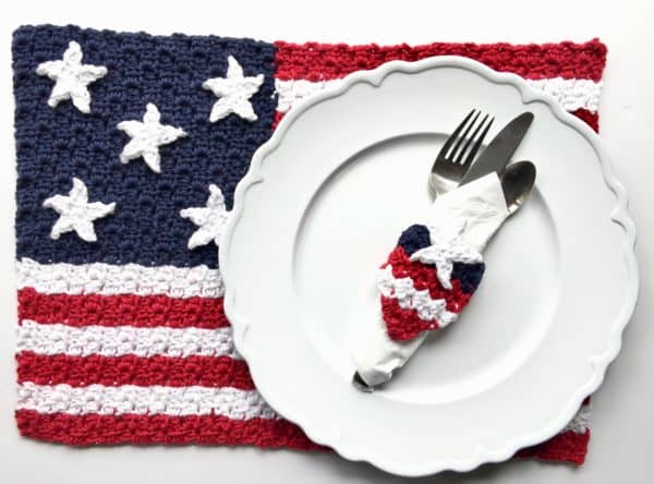 American Flag Placemat C2C Free Crochet Pattern