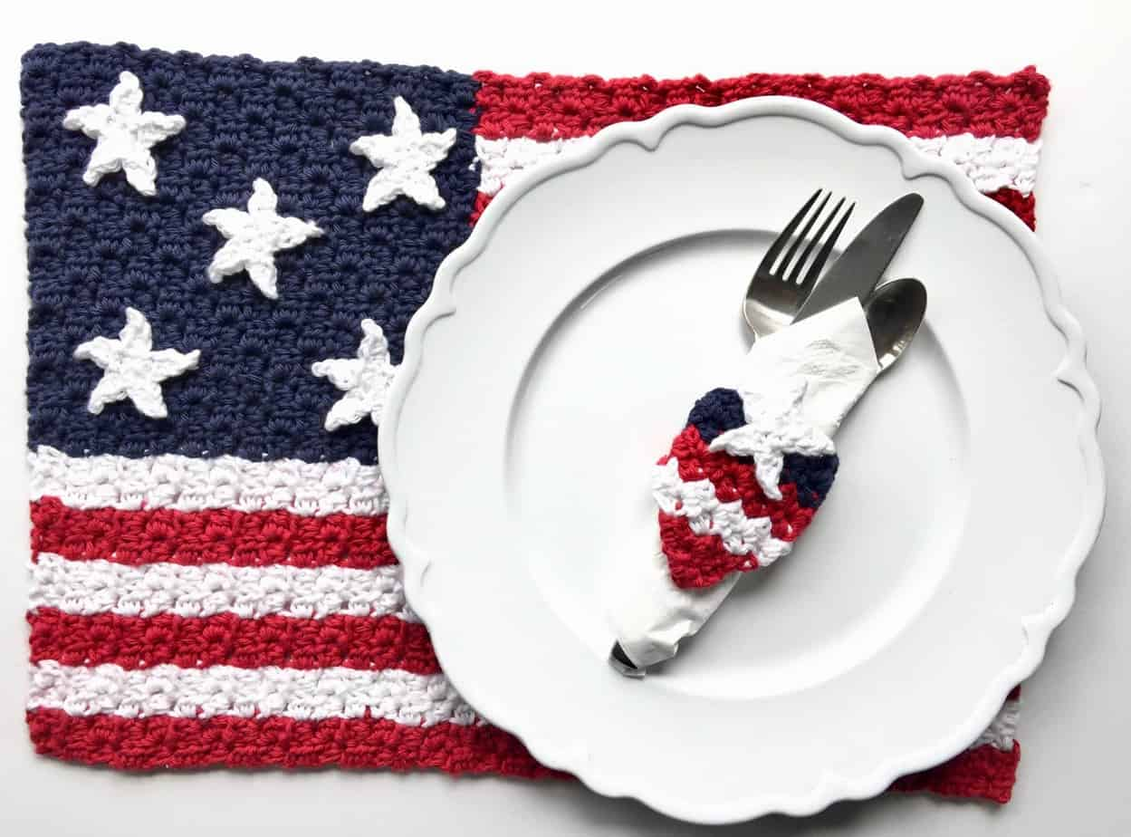 American Flag C2C Placemat & Napkin Ring Free Crochet Patterns
