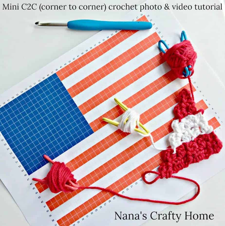 Mini (hdc) C2C (corner to corner) crochet photo & video tutorial