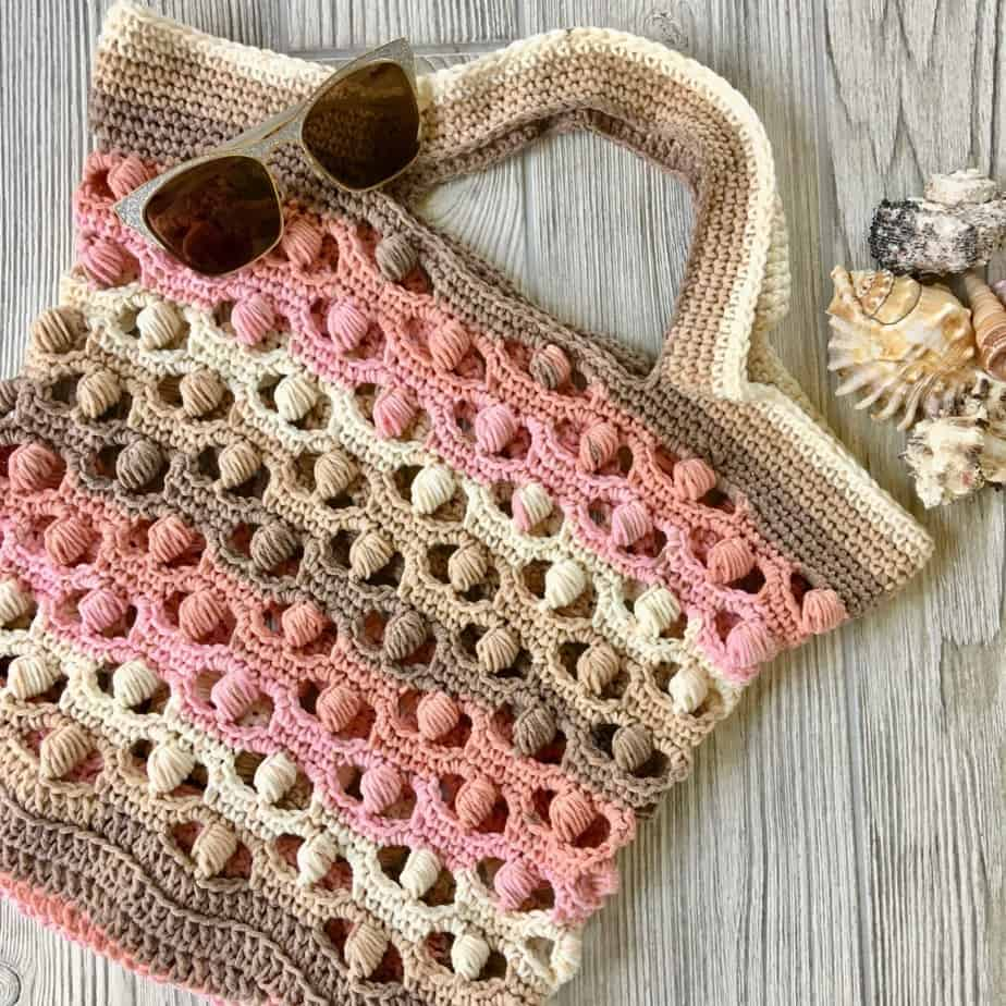 Sea Shells by the Sea Shore Market Tote Bag Free Crochet Pattern