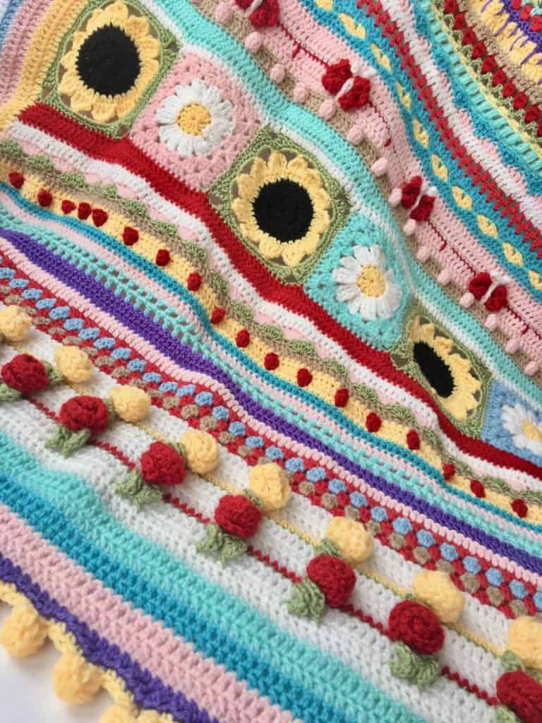 Summer Love Stitch Sampler Blanket by SpitSpot Crochet