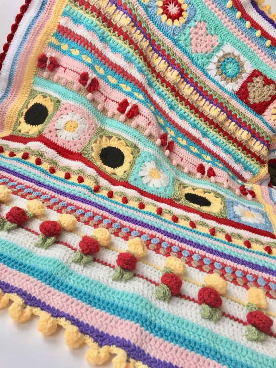 Summer Love Stitch Sampler Blanket Inspiration pattern by SpitSpot Crochet