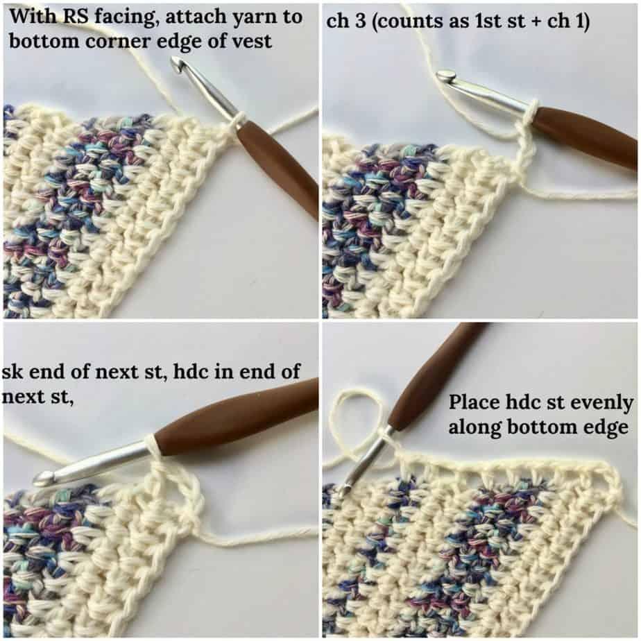 Triangle Trio Boho Vest free crochet pattern Edge Process Shots
