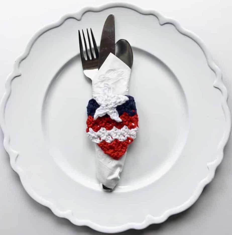 American Flag Napkin Ring C2C Free Crochet Pattern