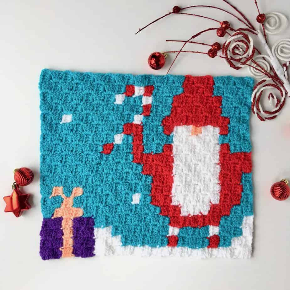 Gnome C2C Blanket Christmas in July CAL Panel #1 free crochet pattern