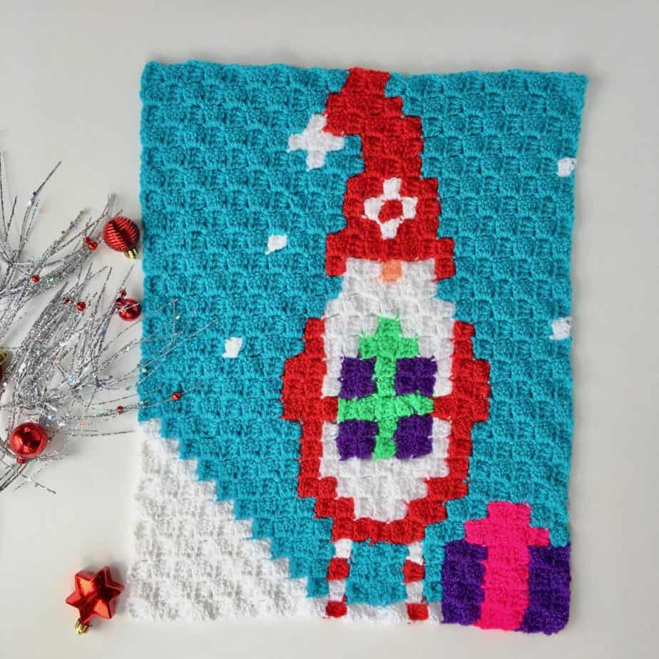 Gnome for Christmas C2C Blanket Christmas in July CAL Panel #4 free crochet pattern