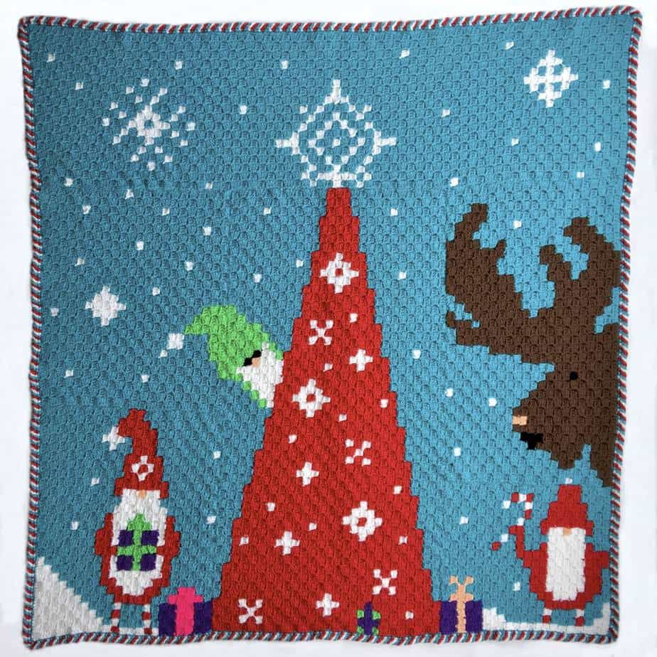 Christmas Crochet Blanket Free Pattern.Gnome For Christmas Blanket Ad Free Pdf