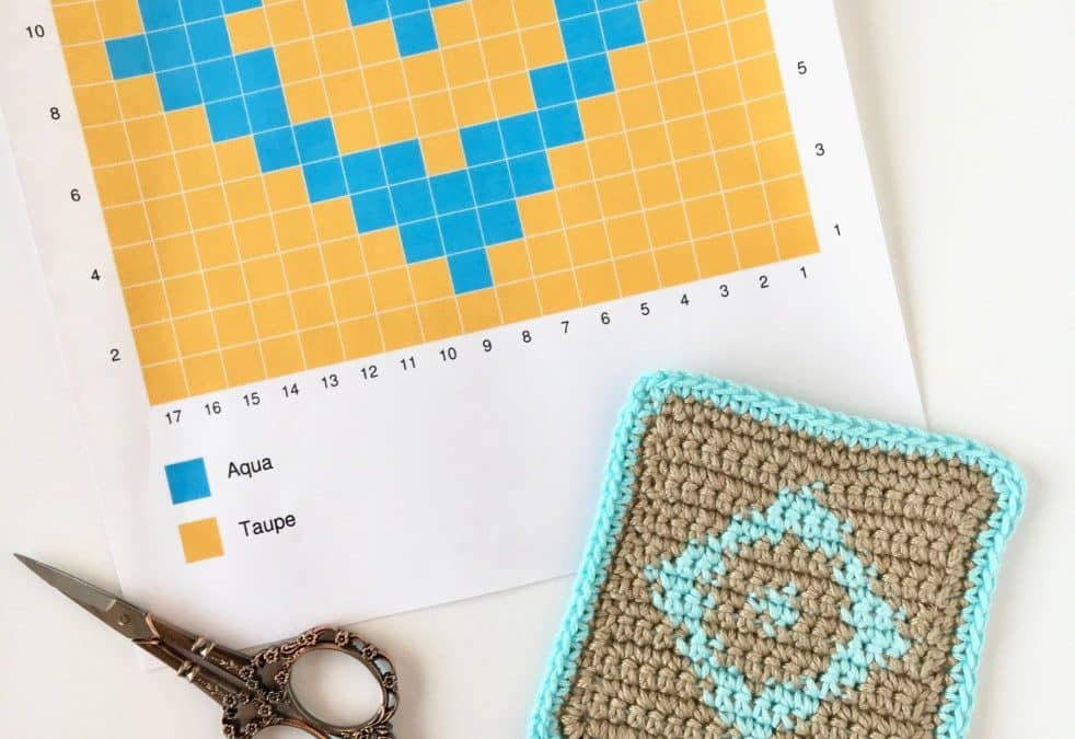 Learn how to do Tapestry Crochet with this photo & video tutorial + Free Diamond Coaster Pattern