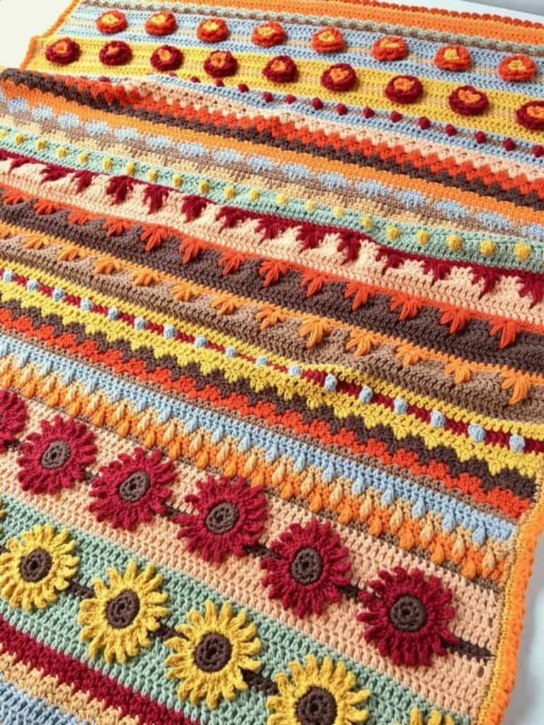 Autumn Rhapsody Stitch Sampler Blanket Crochet a Long Announcement